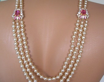 Backdrop Necklace, Pink, Art Deco, Great Gatsby Jewelry, Downton Abbey, Pearl Necklace, Bridal Backdrop, Back Necklace, Pink Bridal Jewelry