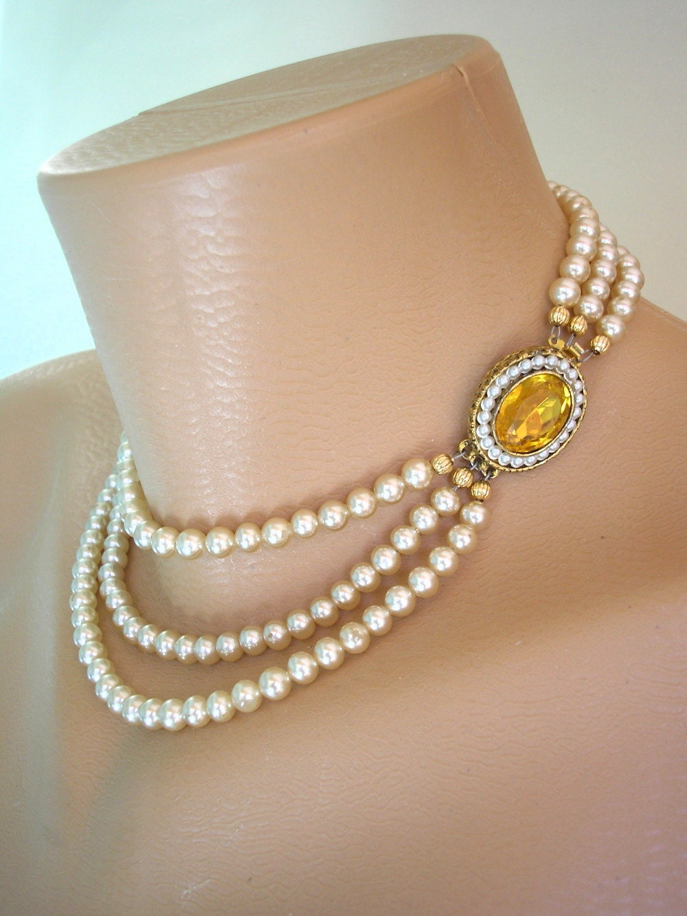 Pearl Choker Pearl Necklace Citrine Great Gatsby Jewelry