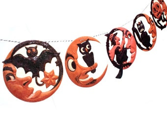 Vintage Halloween Banner - man-in-the-moon photo reproductions - German die-cuts - 2D vintage Halloween decor