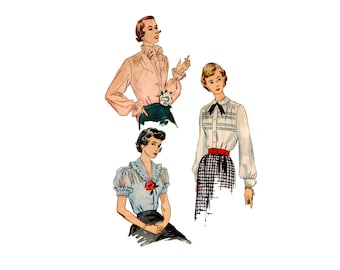 1950s Blouse Pattern Pleated or Ruffled Collar Front Button Peter Pan Collar Long Sleeve Simplicity 3459 Bust 40 Vintage Sewing Pattern