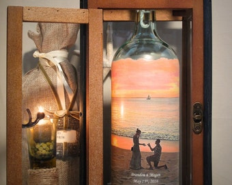 Personalized Engagement Gift With Photo of the Proposal, Hand Painted Wine Bottle Candle or Decanter With Your Photo, Centerpiece Decor,