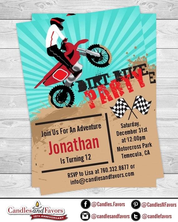 Dirt bike birthday party invitation professionally printed or il570xn filmwisefo