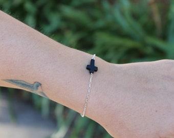 Bracelet sterling silver black onyx cross sideways