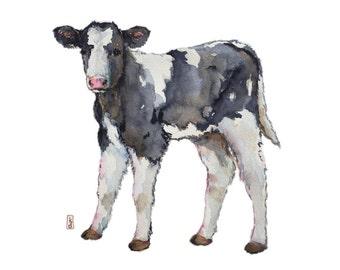 Baby cow, nursery art, print for children, Farm animals, Calf, black and white, Baby animal art, nursery decor, children's room decor