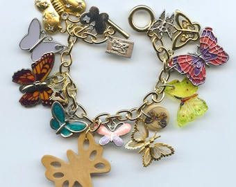 Butterfly Theme Charm Bracelet Made With Flea Market Treasures Vintage and Recent Charms