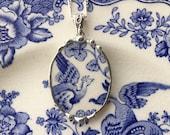 Broken china jewelry necklace oval pendant beautiful bird asiatic pheasant antique blue floral English transferware