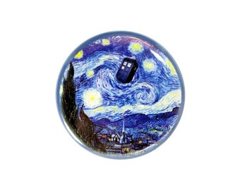"Doctor Who Fan Badge,  Pinback Button, Doctor Who Starry Night, Tardis Button, 1.25"" Button - X03"