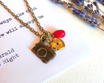 Vintage Style Photographer Necklace, Camera, Vintage Gold Brass Heart Locket,  Charms, Photographer Necklace, Jewelry by HoneyNest