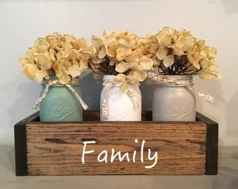 wood table box, mason jar decor, mantle decor, planter box, table centerpiece, wedding table, farmhouse decor, reclaimed wood, home decor