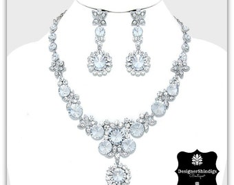 OWCrystal Rhinestone Statement Bridal Necklace and Earrings Set Clear