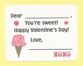 Ice Cream Cone Treat - Fill in the Blanks Valentine's Day Cards - Great for Classroom Valentine Parties