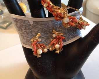 Branch Coral and Mother of Pearl Bangle and Clip Earrings