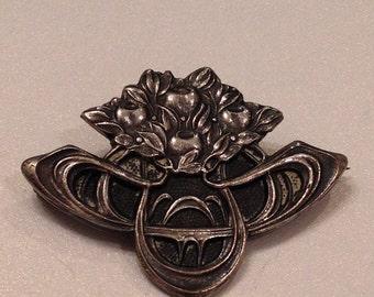 Art Nouveau Silver Brooch Flowers