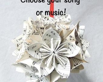 Custom Small Sheet Music Origami Ornament~Sheet Music Ornament~Music Decor~Musical Christmas Tree Decor~Sheet Music Ball~Wedding Decor
