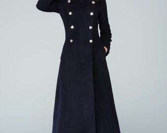 Navy wool coat, maxi coat, military coat, classic coat, double breasted coat, stand up collar, long trench coat, custom made coat 1596