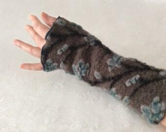 Arm Warmers, Fingerless Gloves, Wool Fingerless Gloves, Wool Arm Warmers, Wrist Warmers in grey and petrol, Gauntlets