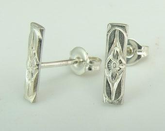Floral Bar Earrings / Silver Earrings / Bar Earrings / Flower Earrings