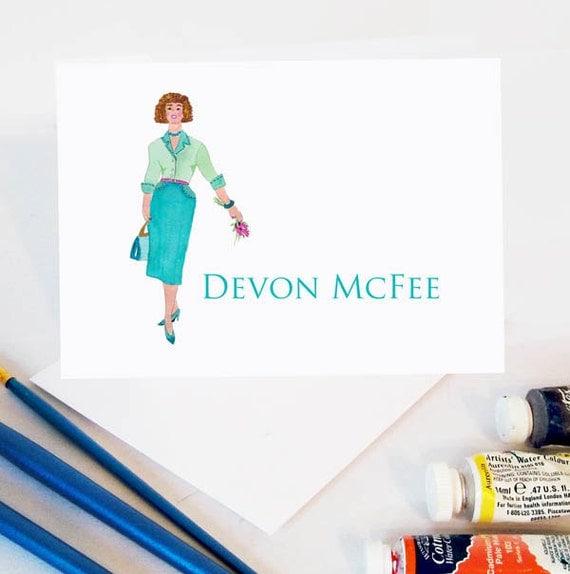 Custom Portrait, Custom Portrait Stationery, Personalized Illustration, Fashion Portrait, Personalized Stationery Portrait, Custom Cards