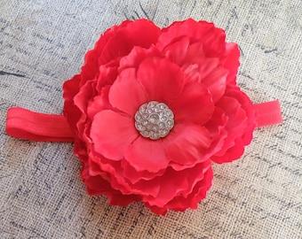 "5"" Red Flower Headband, Red headband, Red Clippie, Infant headband, Flower Clippie, Flower Headband, Red bow, Peony clippie"