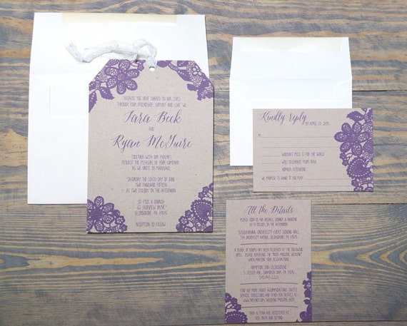 Lace Wedding Invitations, Country Chic Wedding Invitation, Romantic Lace Wedding Invitation Suite, Rustic Lace Wedding Invitations, Barn