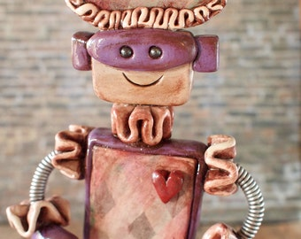 Harlequin Robot Rustic Purple Percival - Clay, Wire, Paint