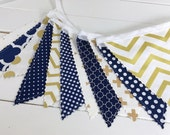 Bunting Banner, Photography Prop, Fabric Flags, Gold Nursery Decor, Garland, Borthday Decoration, Pennant - Navy Blue, Gold, Chevron, Dots