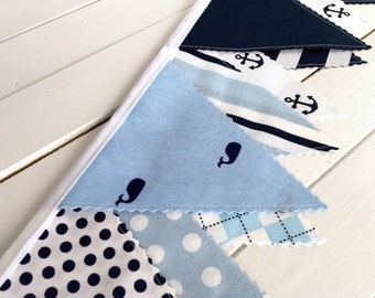Bunting Fabric Banner, Fabric Flags, Nautical Nursery Decor, Birthday Decoration - Navy Blue, Light Blue, Whales, Anchors, Nautical