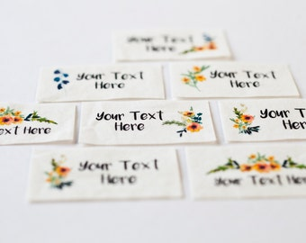 Modern Calligraphy Watercolor Floral Labels - Organic Cotton Personalized Tags