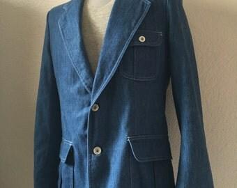 Vintage Men's 70's Lee Denim Sport Coat, Jacket (M)