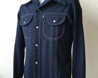 Vintage Men's 70's Levi's Big E, Leisure Jacket, Navy Blue, Polyester, Snap Button (M)
