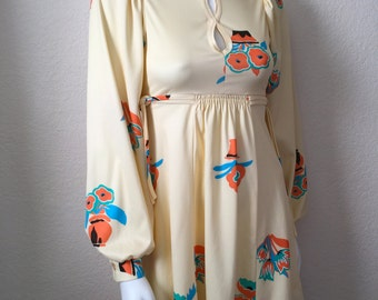 Vintage Women's 70's Mini Dress, Yellow, Floral, Polyester, Long Sleeve (XS)