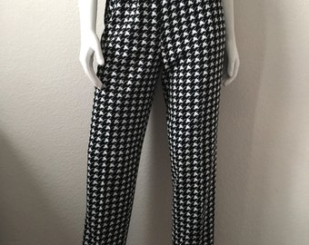 Vintage Women's 80's Unworn, Houndstooth Pants, High Waisted, Black, White by Graff (M)