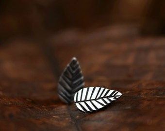 Sterling Silver Leaf Stud Earrings - Gift for Bridesmaids - Woodland Earring - Under 50 - Unique Studs