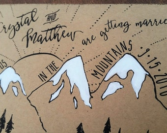 mountain save the date postcard hand painted wedding
