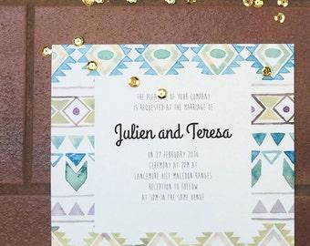 Printable Wedding Invitation - Watercolour Aztec Wedding Invitation (1 Piece)