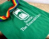 Cute Vintage Mini Rainbow Tote Book Bag - Seattle, The Emerald City