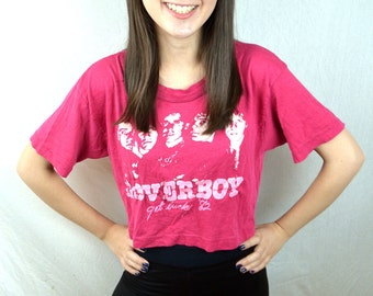 Vintage 80s 1980s Loverboy 1982 RARE Get Lucky Pink Tshirt Cropped Tee Shirt