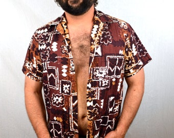 Men's Vintage 60s Andrade Tiki Cotton Hawaiian Shirt