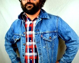 Vintage 80s Levis Red Tag Jean Denim Jacket Coat - Size 42