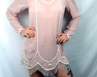 Amazing Heavily Beaded Pink Vintage Jack Bryan Formal Cocktail Mini Flapper Costume Dress