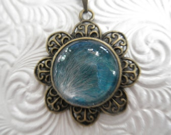 Protection-Milk Thistle Seed Victorian Bronze Filigree Pendant Atop Teal-Symbolizes Protection-Unique,One Of A Kind-Gifts Under 30