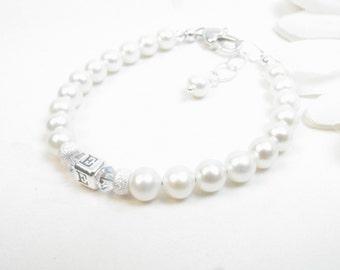 Freshwater Pearl Baby Girl Bracelet w/ Initial Monogram // Baby Bracelet // Baby Girl Bracelet // Real Pearl Bracelet //Little Girl Bracelet