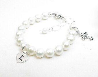 Christening Bracelet // Baptism Bracelet // Baby Bracelet // Real Pearl Bracelet // Cross Bracelet // Baby Girl Bracelet