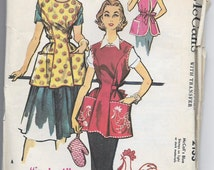 Uncut, Misses Size 18-20, Vintage 1950s Sewing Pattern, McCall's 2133, Apron, Cobbler, Oven Mitt Potholder, Large, Plus, Rooster, Transfer