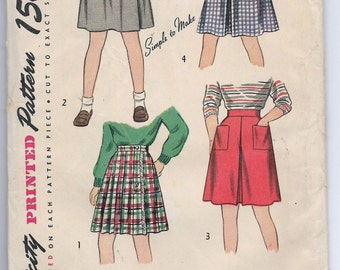 Uncut, Child size 12, Vintage 1940s Sewing Pattern, Simplicity 1732, Girl, Skirt, Wrap Around, Fringe, A-line with inverted pleat, Pockets