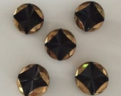 Vintage Czech Glass Buttons - 5 Black with Gold Metallic