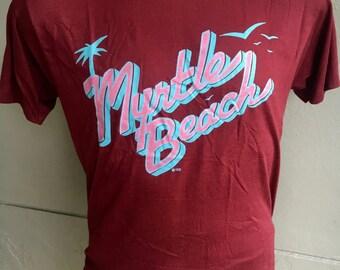 Myrtle Beach South Carolina 1980s vintage soft maroon tee shirt size large