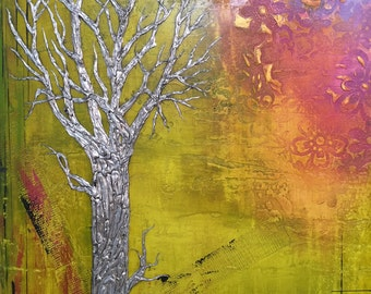Silver Tree Painting Abstract Spring Awakening