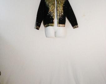Black Cardigan Sweater Gold Sequin Vintage Formal Chic Top M