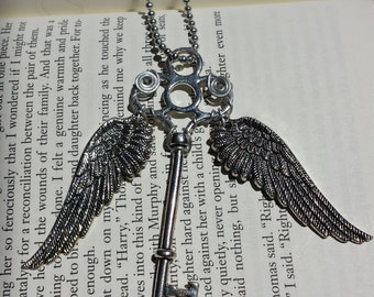 Flying Winged Key Necklace #5 - Wire Wrapped, Wings Move